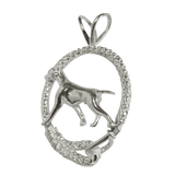 Vizsla in Solid Sterling Silver Leash Pendant