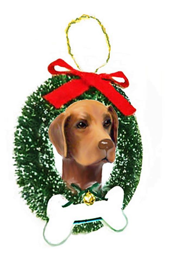 Vizsla Wreath and Bone Ornament