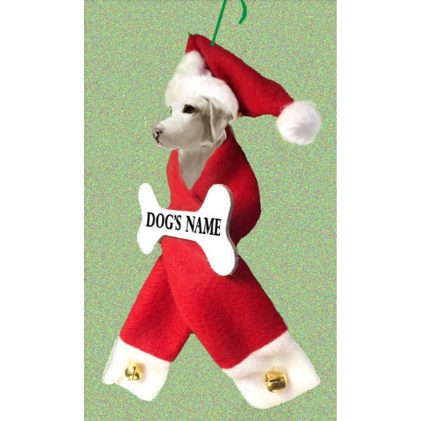 Weimaraner Santa Bone Ornament