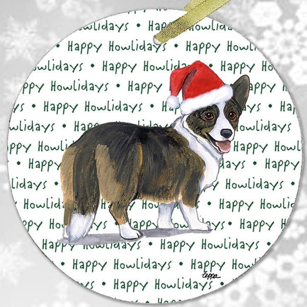 "Cardigan Welsh Corgi ""Happy Howlidays"" Ornament"