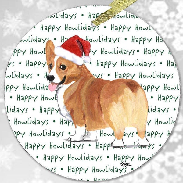 "Pembroke Welsh Corgi, Red and White ""Happy Howlidays"" Ornament"