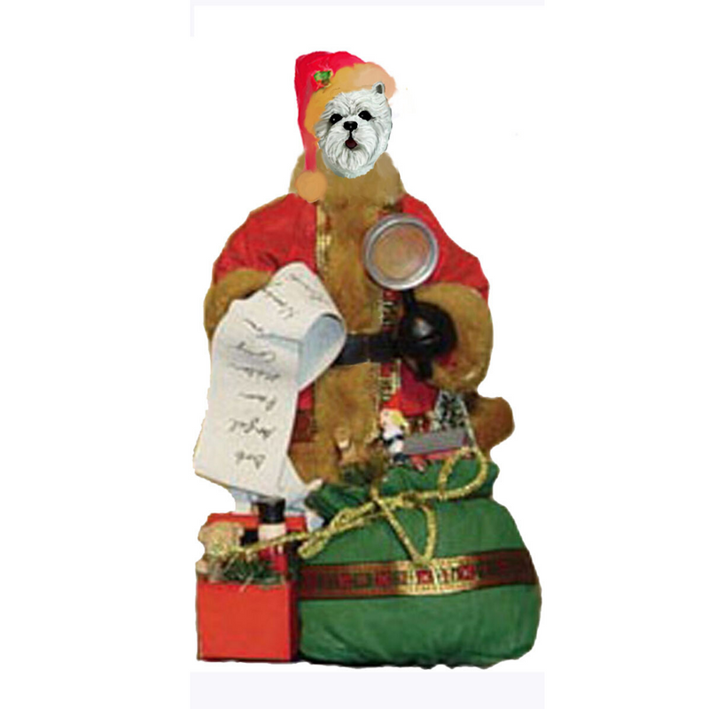 West Highland White Terrier Toy List Santa Statue