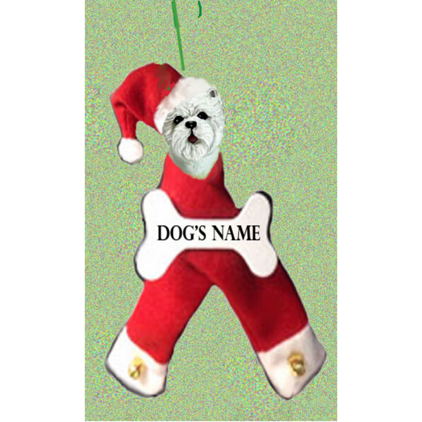 West Highland White Terrier Santa Bone Ornament