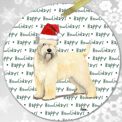 "Wheaten Terrier (Soft Coated) ""Happy Howlidays"" Ornament"