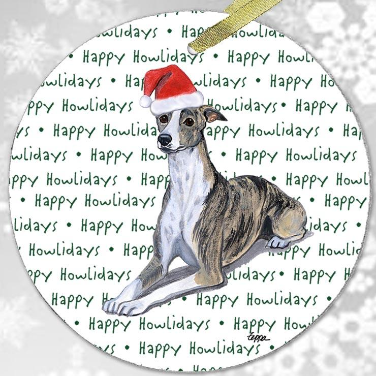 "Whippet ""Happy Howlidays"" Ornament"