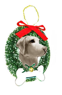 Weimaraner Wreath and Bone Ornament