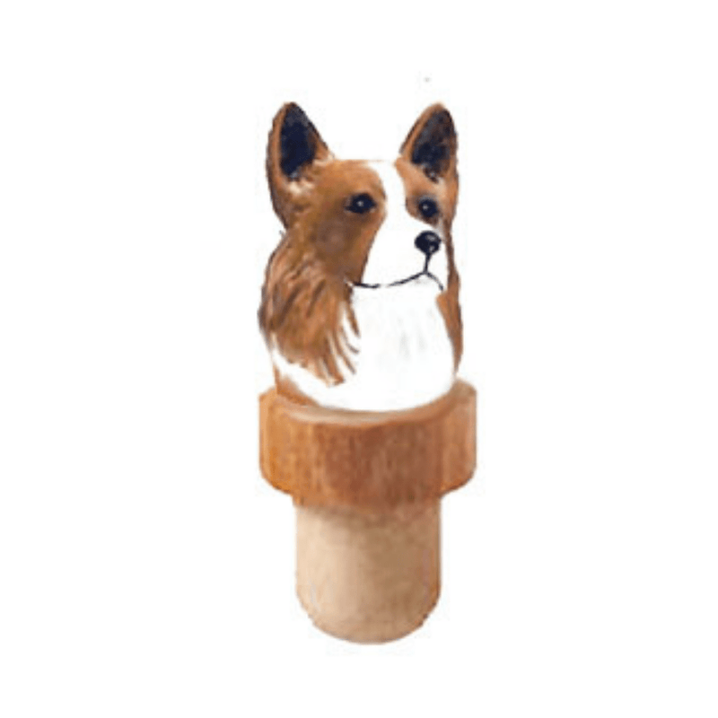 Pembroke Welsh Corgi Head Cork Bottle Stopper