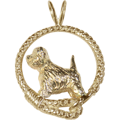 Solid 14K Gold West Highland White Terrier Leash Pendant