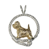 Solid 14K Gold West Highland White Terrier in Sterling Silver Leash Pendant