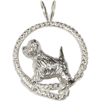 West Highland White Terrier in Solid Sterling Silver Leash Pendant
