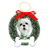 West Highland White Terrier Wreath and Bone Ornament