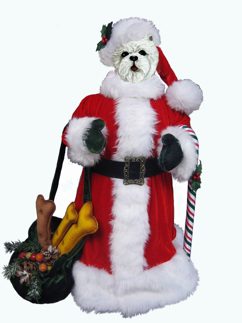 West Highland White Terrier Large Santa Statue