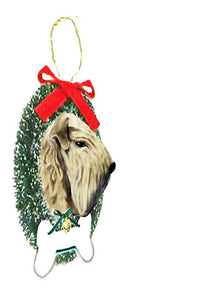 Soft Coated Wheaten Terrier Wreath and Bone Ornament