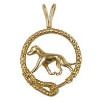 Solid 14K Gold Whippet Leash Pendant