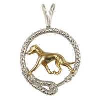 Solid 14K Gold Whippet in Sterling Silver Leash Pendant