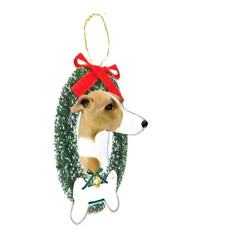 Whippet Wreath and Bone Ornament