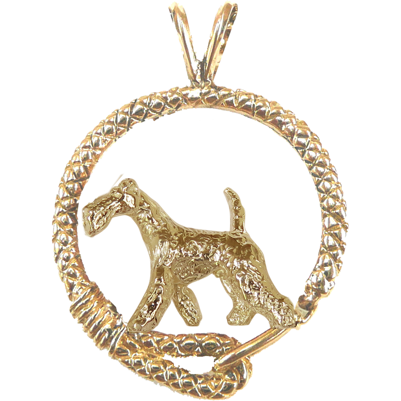 Solid 14K Gold Wire Fox Terrier Leash Pendant