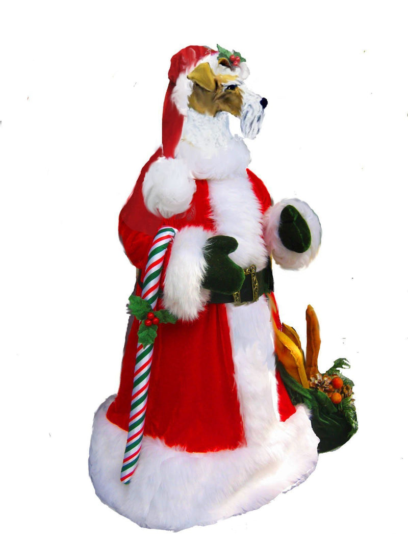 Wire Fox Terrier Large Santa Statue