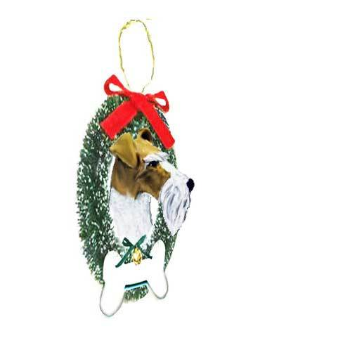 Wire Fox Terrier Wreath and Bone Ornament