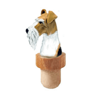 Wire Fox Terrier Head Cork Bottle Stopper