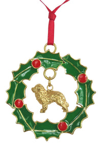 Bernese Mountain Dog Wreath Ornament