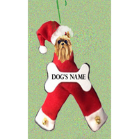 Yorkshire Terrier Santa Bone Ornament