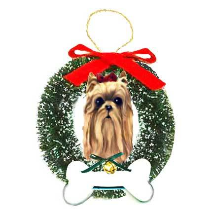 Yorkshire Terrier Wreath and Bone Ornament
