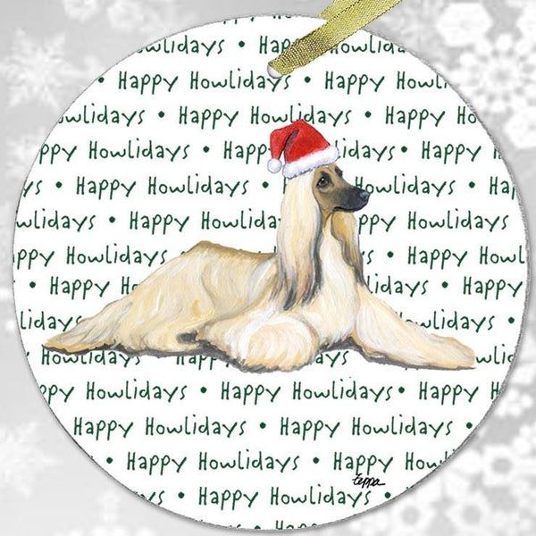 "Afghan Hound ""Happy Howlidays"" Ornament"