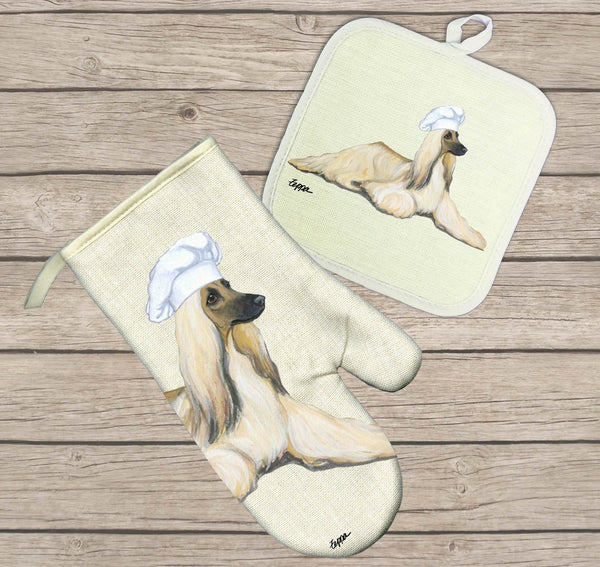 Afghan Hound Oven Mitt and Pot Holder
