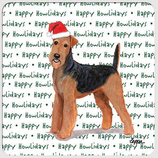 "Airedale Terrier ""Happy Howlidays"" Coaster"