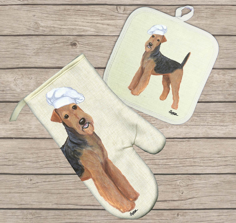 Airedale Terrier Oven Mitt and Pot Holder
