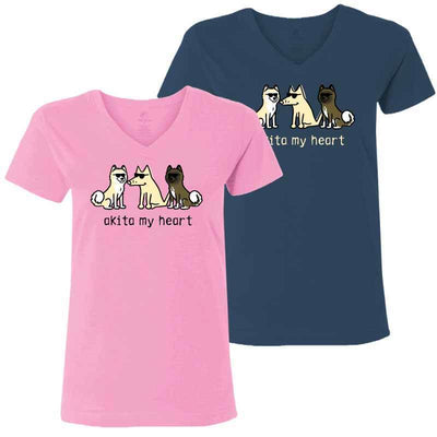 Akita My Heart - Ladies T-Shirt V-Neck