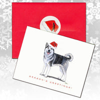 Alaskan Malamute Christmas Note Cards