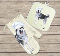 Alaskan Malamute Oven Mitt and Pot Holder