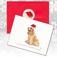 American Cocker Spaniel, Buff, Christmas Note Cards