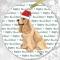 "American Cocker Spaniel, Blonde ""Happy Howlidays"" Ornament"