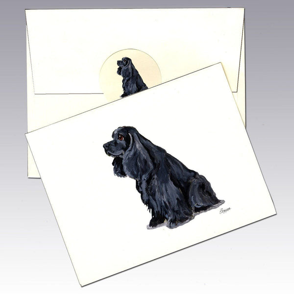 American Cocker Spaniel, Black Note Cards