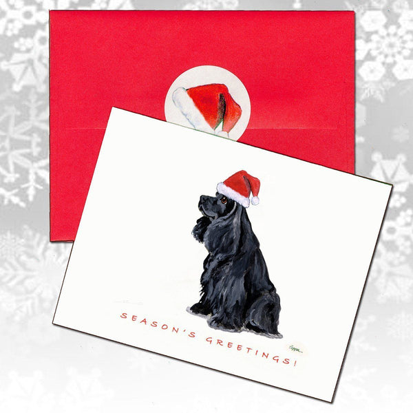American Cocker Spaniel, Black Christmas Note Cards