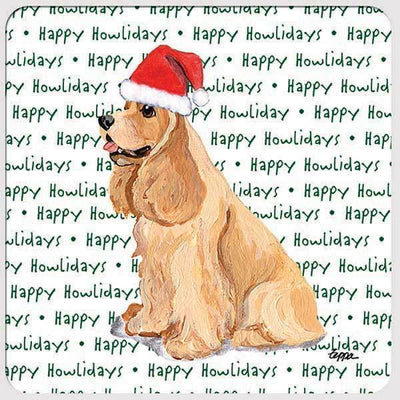 "American Cocker Spaniel, Blonde ""Happy Howlidays"" Coaster"