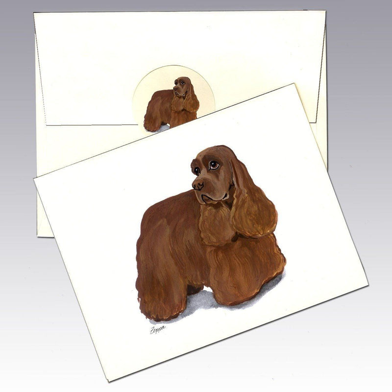 American Cocker Spaniel, Chocolate Note Cards