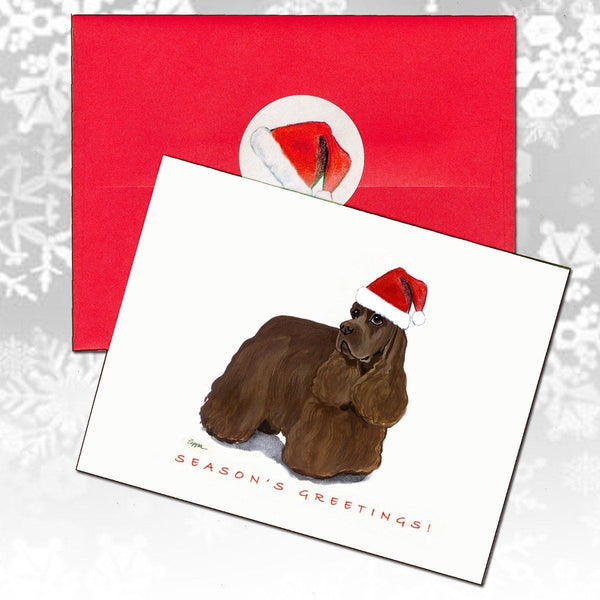 American Cocker Spaniel, Chocolate Christmas Note Cards