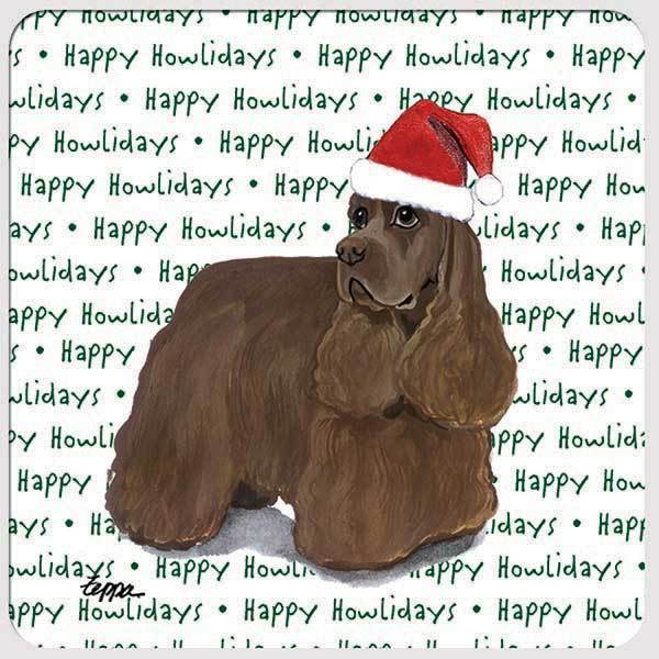 "American Cocker Spaniel, Chocolate ""Happy Howlidays"" Coaster"