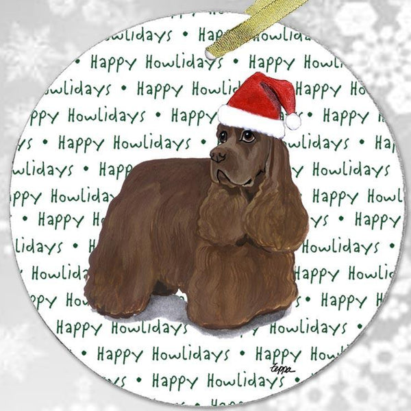 "American Cocker Spaniel, Chocolate ""Happy Howlidays"" Ornament"