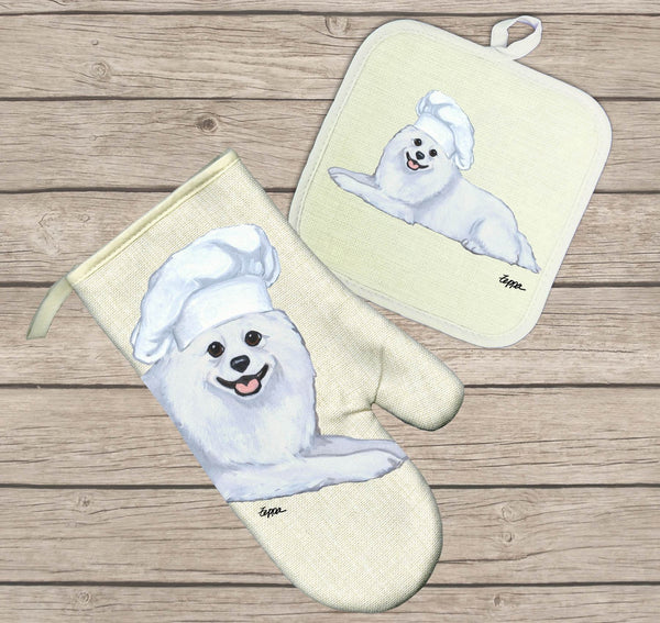American Eskimo Dog Oven Mitt and Pot Holder