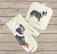Australian Shepherd Oven Mitt and Pot Holder