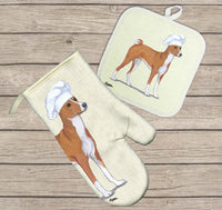 Basenji Oven Mitt and Pot Holder