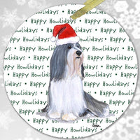 "Bearded Collie ""Happy Howlidays"" Ornament"