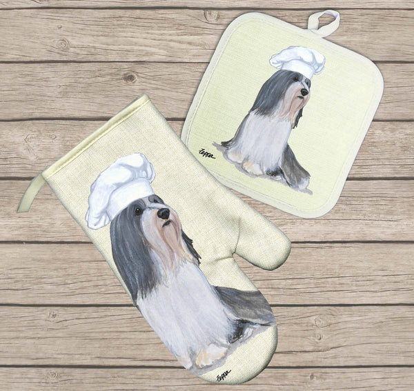 Bearded Collie Oven Mitt and Pot Holder