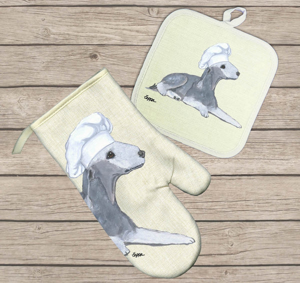 Bedlington Terrier Oven Mitt and Pot Holder