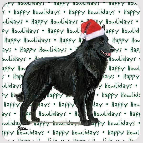"Belgian Shepherd ""Happy Howlidays"" Coaster"